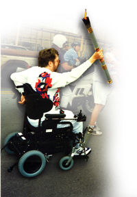 Jim Decker carries the 1996 Olympic Torch in Atlanta
